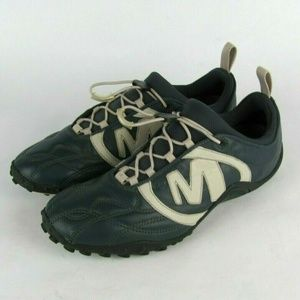 MERRELL Blue Leather Bungee Lace Athletic Shoe 9.5